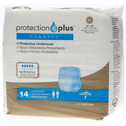 "Protection Plus Classic Protective Underwear, X-Large, 56 - 68"", White, Bag Of 14"