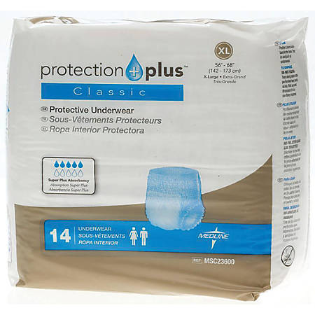 """Protection Plus Classic Protective Underwear, X-Large, 56 - 68"""", White, Bag Of 14"""