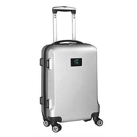 """Denco Sports Luggage Rolling Carry-On Hard Case, 20"""" x 9"""" x 13 1/2"""", Silver, Michigan State Spartans"""