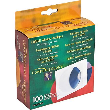 "Compucessory CD/DVD White Window Envelopes - CD/DVD - 5"" Width x 5"" Length - 100 / Box - White"