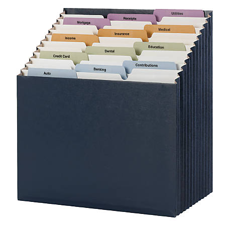 Smead® 12-Pocket Stadium® File, Letter Size, 10% Recycled, Navy