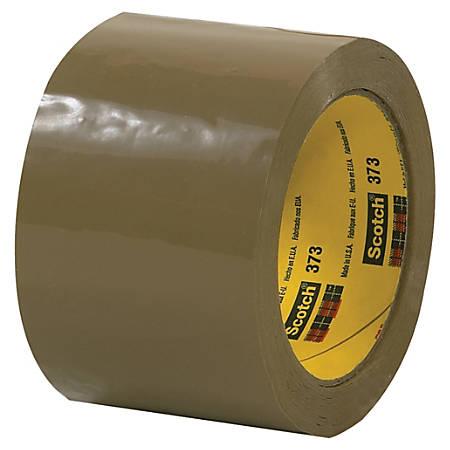 """Scotch® 373 Carton-Sealing Tape, 3"""" Core, 3"""" x 110 Yd., Tan, Pack Of 6"""
