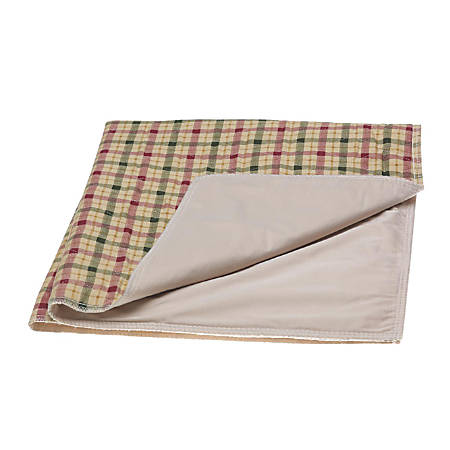 "Triumphant Reusable Underpads, 34"" x 36"", Tan Plaid, Case Of 12"