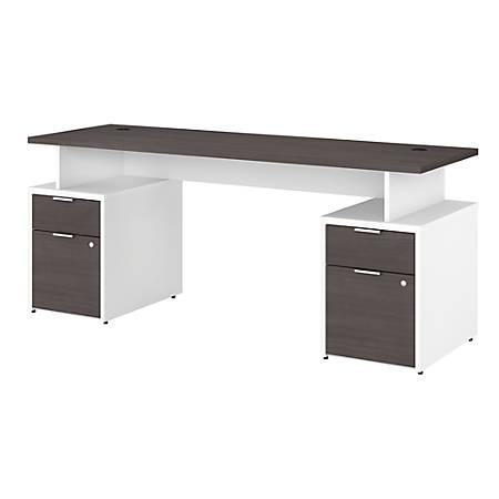 "Bush Business Furniture Jamestown Desk With 4 Drawers, 72""W, Storm Gray/White, Premium Installation"