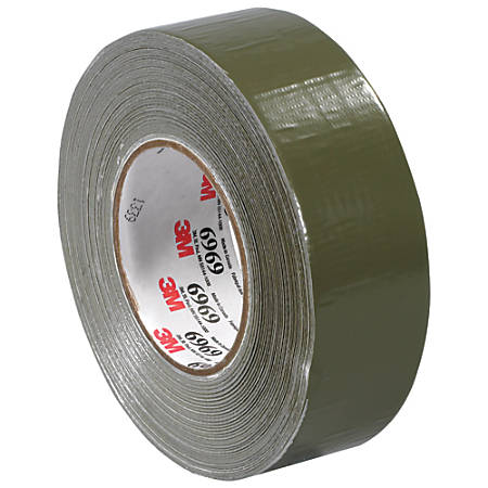 """3M™ Highland™ 6969 Duct Tape, 3"""" Core, 2"""" x 180', Olive Green, Case Of 3"""