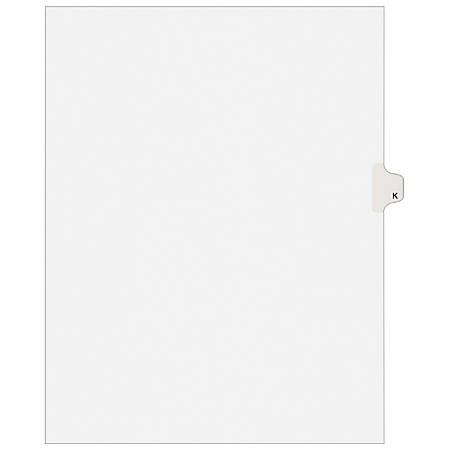 """Avery® Avery-Style 20% Recycled Collated Legal Index Exhibit Dividers, 8 1/2"""" x 11"""", White Dividers/White Tabs, K, Pack Of 25"""