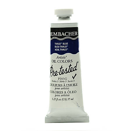 Grumbacher P203 Pre-Tested Artists' Oil Colors, 1.25 Oz, Thalo Blue, Pack Of 2