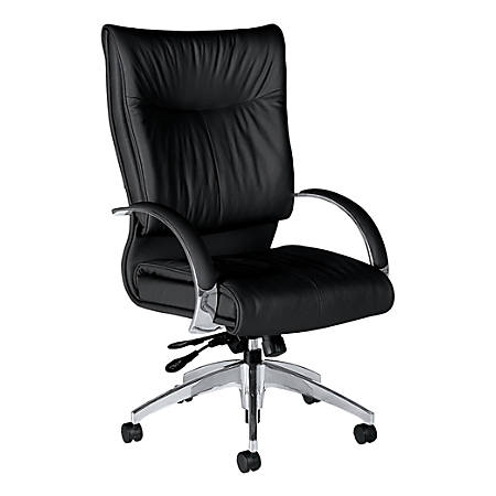 """Global® Softcurve™ High-Back Leather Tilter Chair With Rounded Arms, 43""""H x 25""""W x 28""""D, Black Leather"""