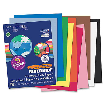 "Riverside® Groundwood Construction Paper, 100% Recycled, 9"" x 12"", Assorted Colors, Pack Of 50"