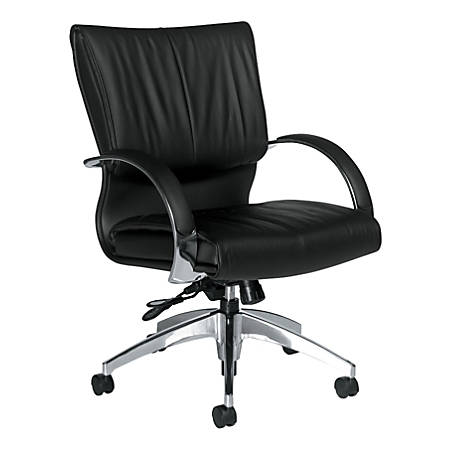 """Global® Softcurve™ Mid-Back Leather Tilter Chair, 37 1/2""""H x 25""""W x 26""""D, Black Leather"""