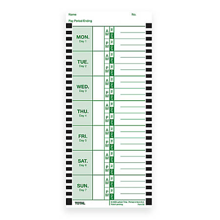 """Lathem Time Cards, E8-100, Weekly, 1-Sided, 8 1/2"""" x 3 3/4"""", White, Box Of 100"""