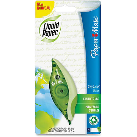 Paper Mate® Liquid Paper® DryLine® Grip 67% Recycled Correction Tape, 1 Line x 335