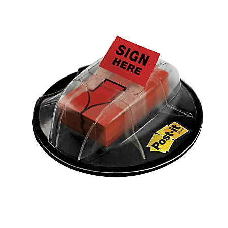 """Post-it® Message Flags in Desk Grip Dispenser, """"Sign Here"""", 1"""" x 1 -11/16"""", Red, 200 Flags"""