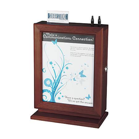 "Safco® Wood Suggestion Box, 14 1/2""H x 10 1/2""W x 5 3/4""D, Mahogany"