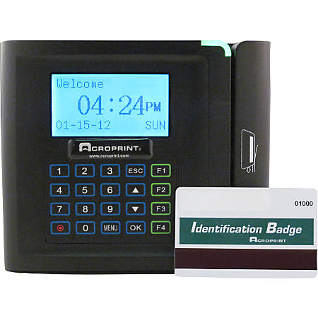 """timeQplus Ethernet Time Clock With Magnetic Stripe System, 50 - 250 Employees, 9.25"""" x 10.75"""" x 3.75"""", Black"""