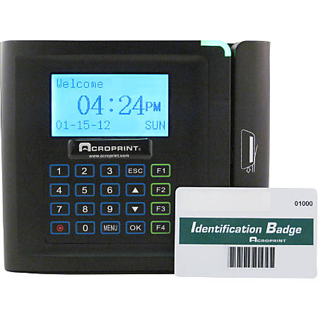 """timeQplus Ethernet Time Clock With Barcode System, 250 Employees, 9.25"""" x 10.75"""" x 3.75"""", Black"""