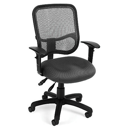 OFM Mesh Comfort Series Fabric Mid-Back Task Chair With Arms, Gray/Black