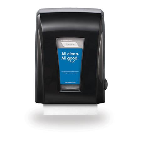 """Cascades® Tandem®+ Mechanical No-Touch Hand Towel Dispenser, 15 1/5""""H x 11 1/5""""W x 9""""D, Black"""