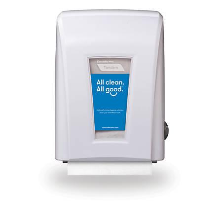 "Cascades® Tandem®+ Mechanical No-Touch Hand Towel Dispenser, 15 1/5""H x 11 1/5""W x 9""D, White"