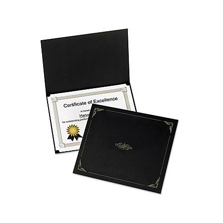 """Oxford Linen-finish Certificate Holders - Letter - 8 1/2"""" x 11"""" Sheet Size - Linen - Black - 5 / Pack"""