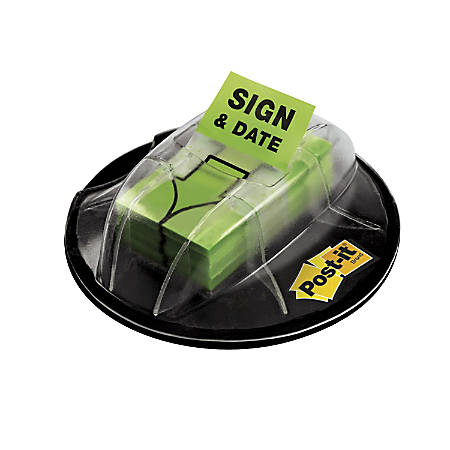 "Post it® Message Flags in Desk Grip Dispenser, ""Sign & Date"", 1"" x 1 7/10"", Bright Green, 200 Flags"