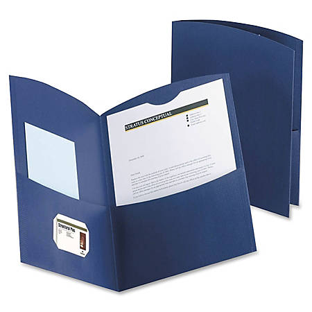 Oxford™ Contour Twin-Pocket Folders, 100% Recycled, Dark Blue, Box Of 25