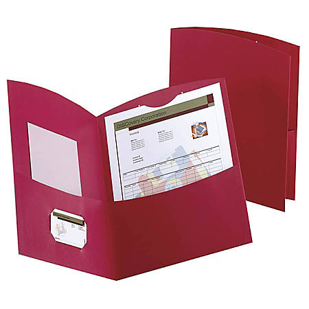 Oxford™ Contour Twin-Pocket Folders, 100% Recycled, Red, Box Of 25