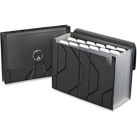 Pendaflex® Expanding File With Sliding Cover, 13 Pockets, Letter Size, Black