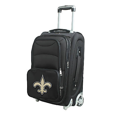 "Denco Nylon Expandable Upright Rolling Carry-On Luggage, 21""H x 13""W x 9""D, New Orleans Saints, Black"