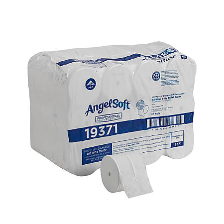 Angel Soft ps® Compact® Coreless 2-Ply Premium Embossed Bathroom Tissue, 750 Sheets Per Roll, Case Of 36 Rolls