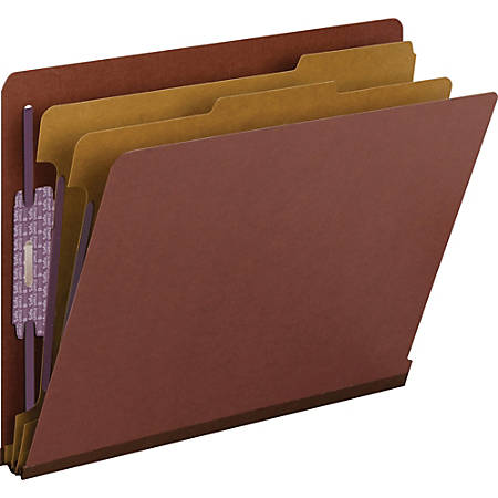Smead® End-Tab Classification Folders With SafeSHIELD® Coated Fasteners, Letter Size, 60% Recycled, Red, Box Of 10