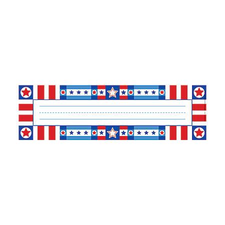"Barker Creek Single-Sided Desk Tags/Bulletin Board Signs, 12"" x 3 1/2"", Americana, Pre-K To Grade 6, Pack Of 36"