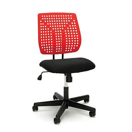 Essentials By OFM Plastic Mid-Back Task Chair, Red/Black