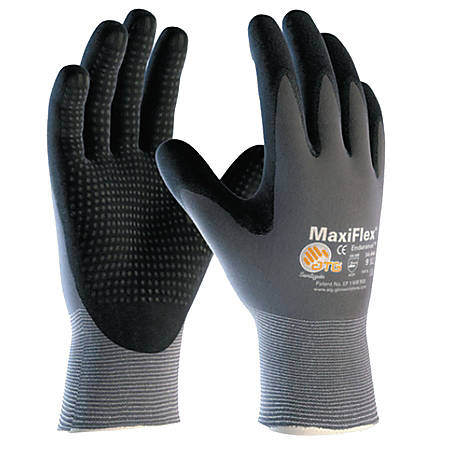 Bouton® MaxiFlex® Endurance™ Nitrile Gloves, Coated Palm, Finger, Large, Black/Gray, Pack Of 12 Pairs