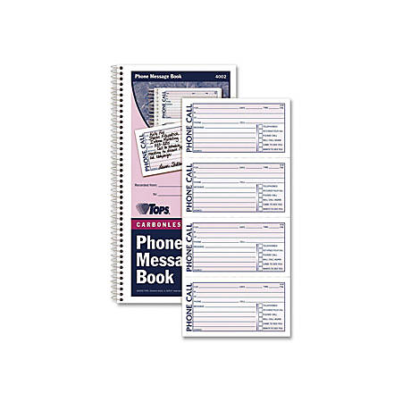 """TOPS Carbonless While You Were Out Book - Double Sided Sheet - Spiral Bound - 2 Part - Carbonless Copy - 5 1/2"""" x 11"""" Sheet Size - Assorted Sheet(s) - Blue, Red Print Color - Recycled - 1 Each"""