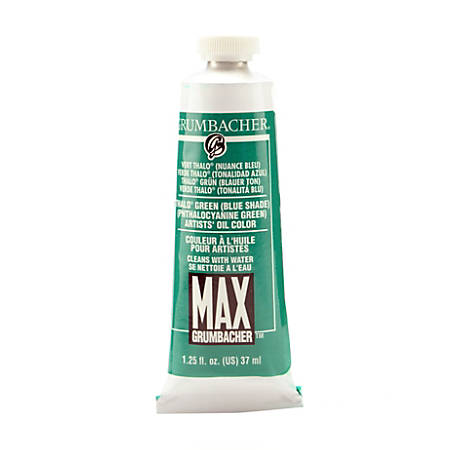 Grumbacher Max Water Miscible Oil Colors, 1.25 Oz, Thalo Green (Blue Shade), Pack Of 2