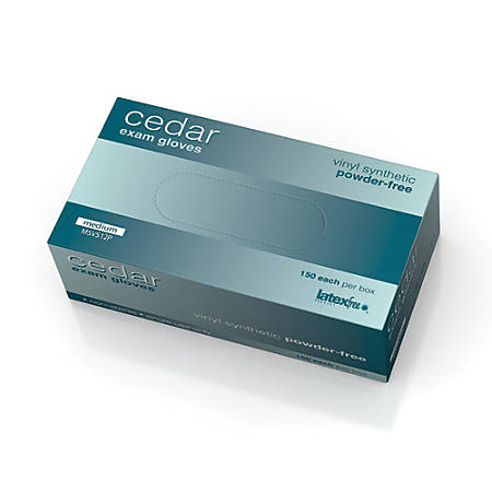 Cedar Powder-Free Vinyl Synthetic Exam Gloves, Medium, Clear, 150 Gloves Per Box, Case Of 10 Boxes