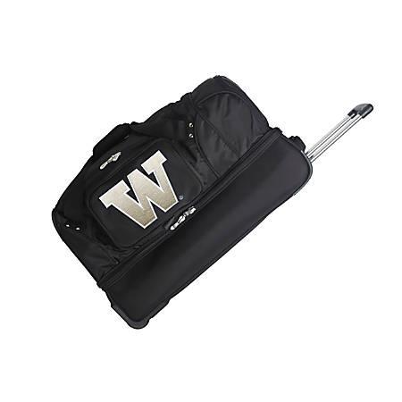 Denco Sports Luggage Rolling Drop-Bottom Duffel Bag, Washington Huskies, Black