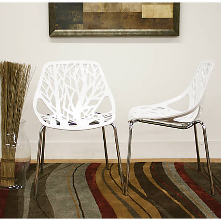 "Baxton Studio Birch Sapling Stackable Chairs, 31 1/2""H x 21""W x 21 1/2""D, White, Set Of 2"