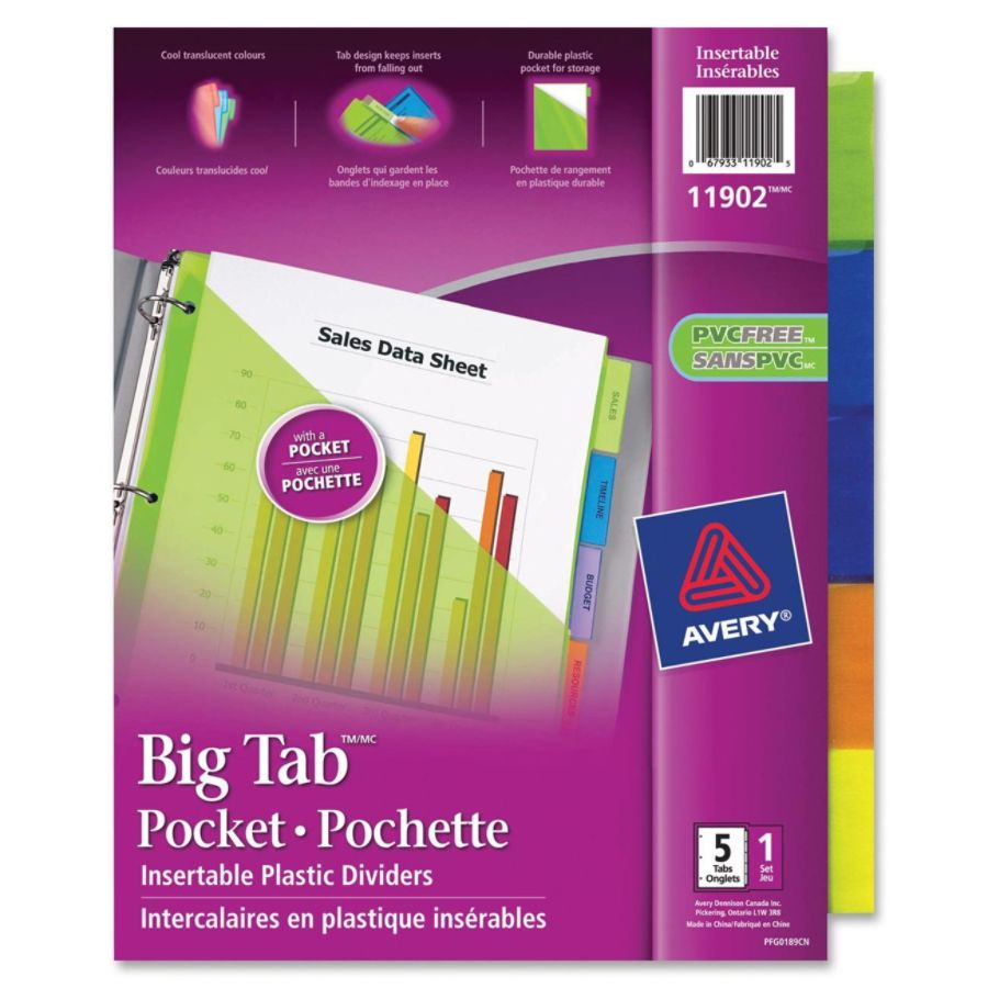 Avery Dennison Ave-11906 Plastic Two-pocket Insertable Tab Dividers 5 Tabs