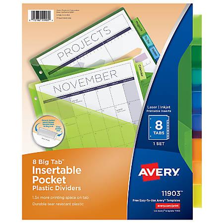 Avery® Big Tab™ Insertable Plastic Dividers, Single Pocket, Multicolor, 8-Tab