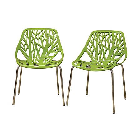Baxton Studio Birch Sapling Stackable Chairs, Green, Set Of 2