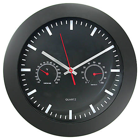 "Timekeeper Round 12"" Black Wall Clock With Temperature And Humidity Gauges"