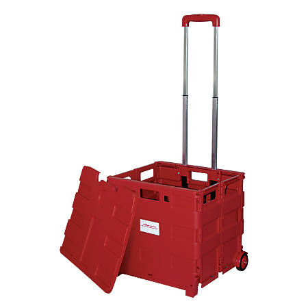 "Office Depot® Brand Mobile Folding Cart With Lid, 16"" x 18"" x 15"", Red"