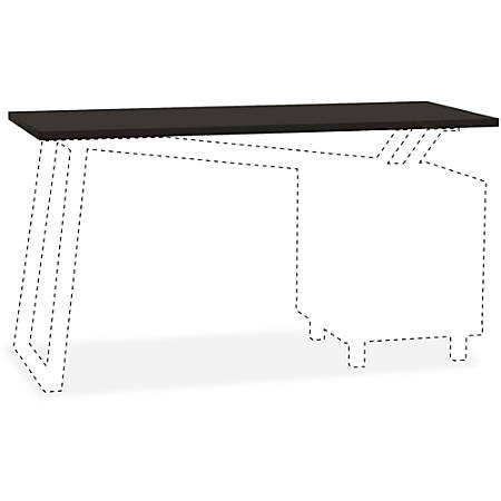 "Mayline Glass Top for 2-Drawer Pedestal V-Desk Base - 0.31"" Table Top Thickness x 55"" Width x 23.50"" Depth - Assembly Required - Black"