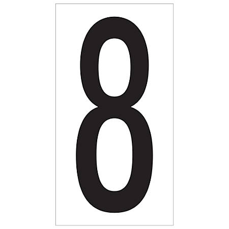 "Office Depot® Brand Vinyl Warehouse Labels, DL9308, Number 8, 3 1/2"", Black/White, Case Of 50"