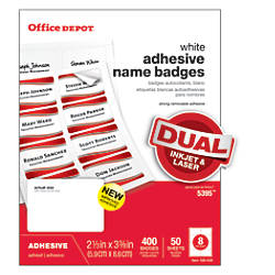 Office Depot Brand Name Badges White