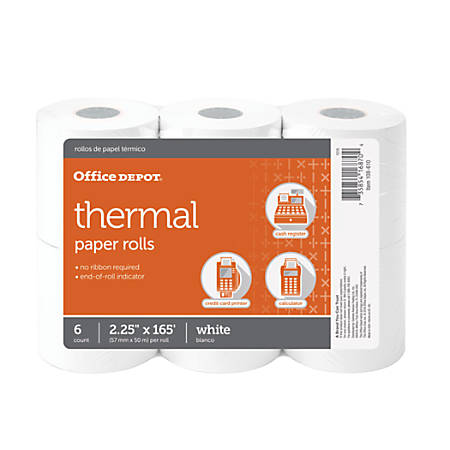 "Office Depot® Brand Thermal Paper Rolls, 2 1/4"" x 165', White, Pack Of 6"