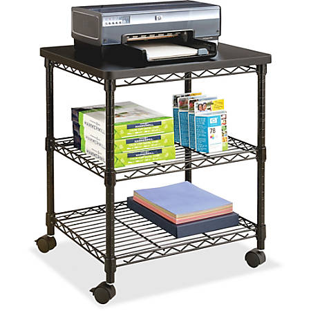 "Safco Deskside Wire Machine Stand - 200 lb Load Capacity - 2 x Shelf(ves) - 27"" Height x 24"" Width x 20"" Depth - Steel - Black"