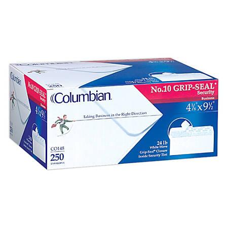 "Columbian® Grip-Seal® Business Envelopes, #10, 4 1/8"" x 9 1/2"", White, Box Of 250"